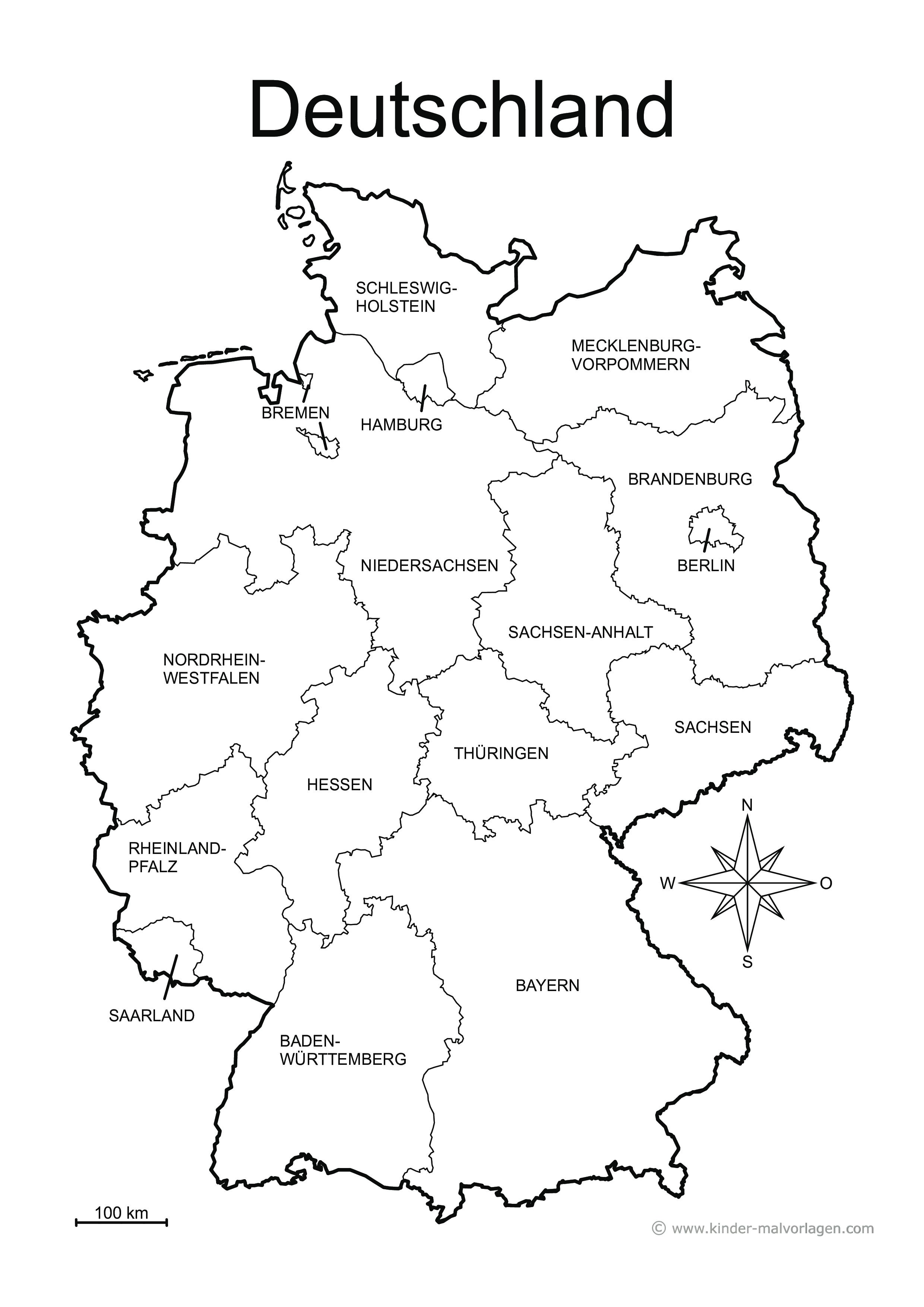 landkarte deutschland schwarz weiß Länderkarten Deutschland | 6 verschiedene Karten A4