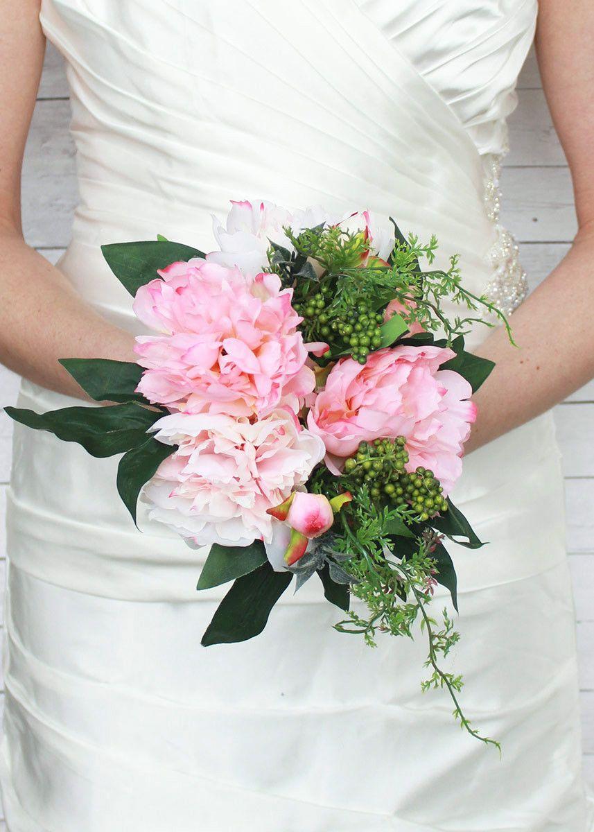 Peony Silk Wedding Bouquet in Pink Cream - 11 | Wedding Flowers ...