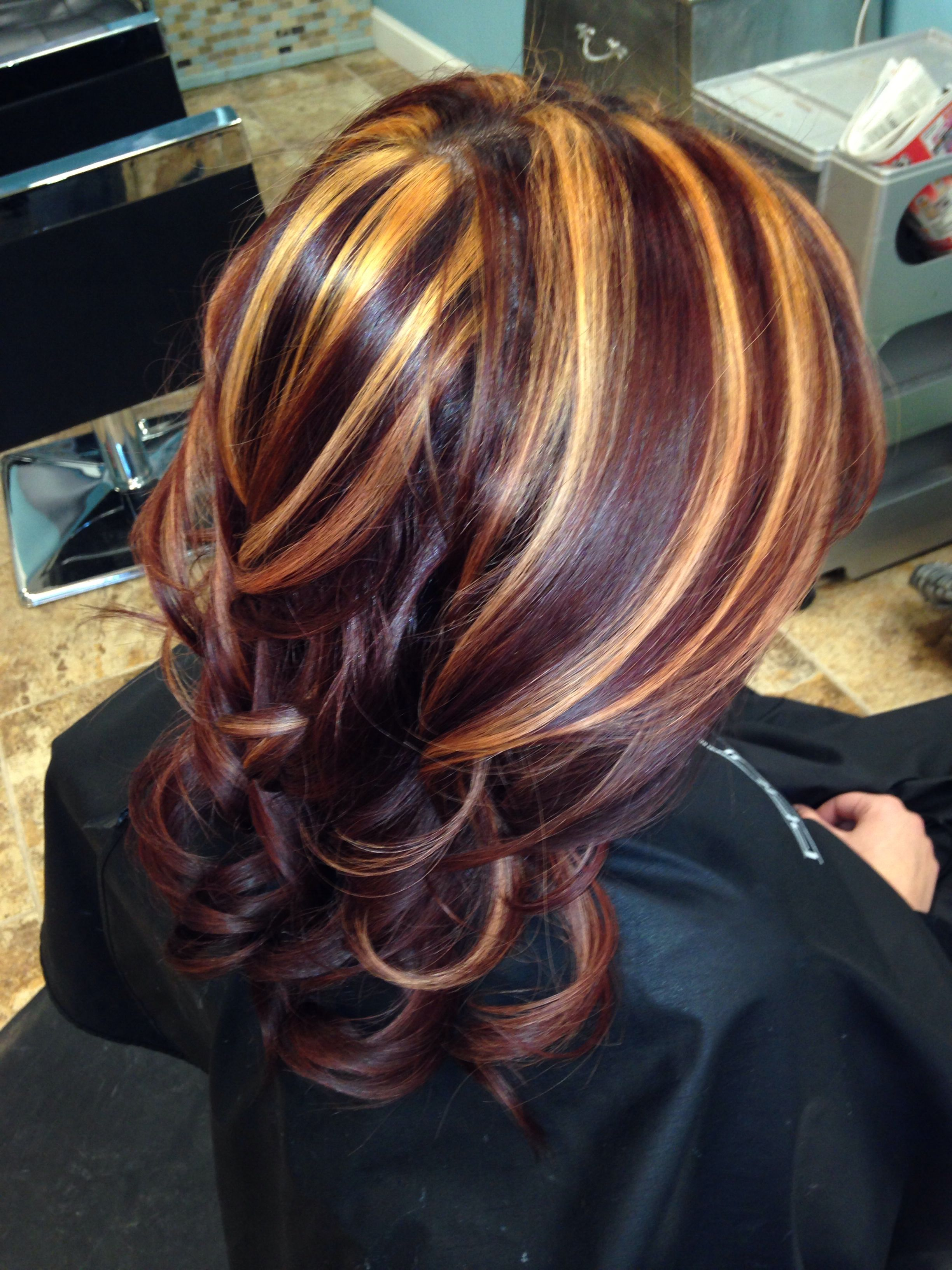 Red and blonde highlights by me | Peace love hair ...