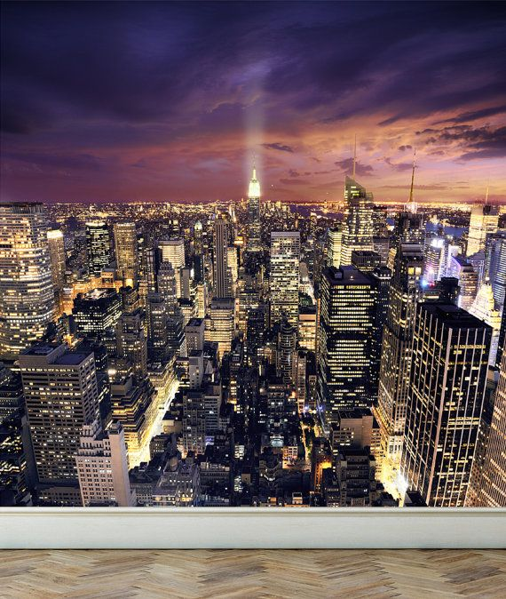 Wall Mural View Of New York City Peel And Stick Repositionable Fabric Wallpaper For Interior Home Decor In 2021 Night City New York Skyline New York