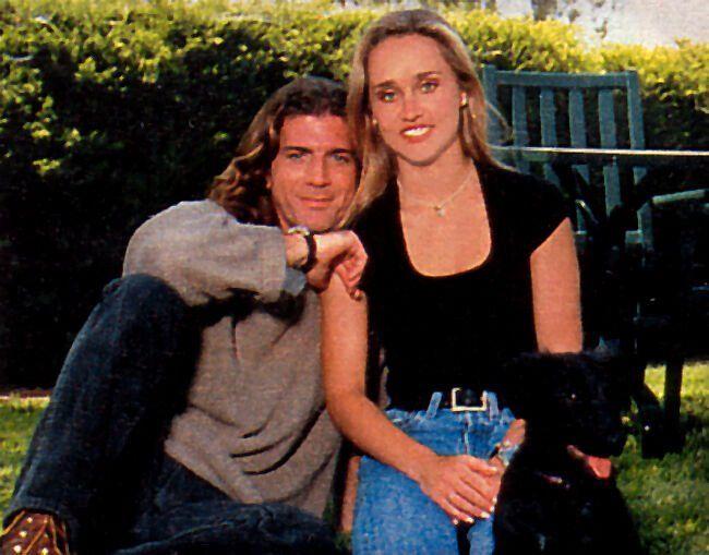 Joe Lando And Kirsten Barlow With Billy The Pup Joe Lando Dr Quinn Medicine Woman Dr Quinn