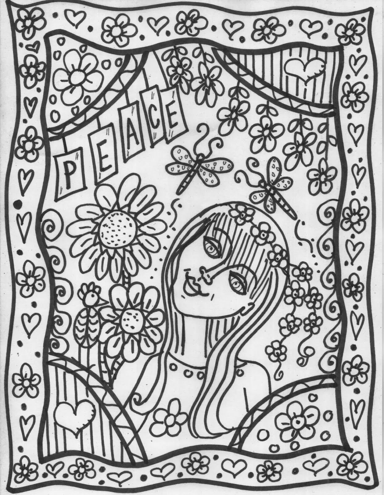 Hippie Coloring Pages Peace Coloring Pages Coloring