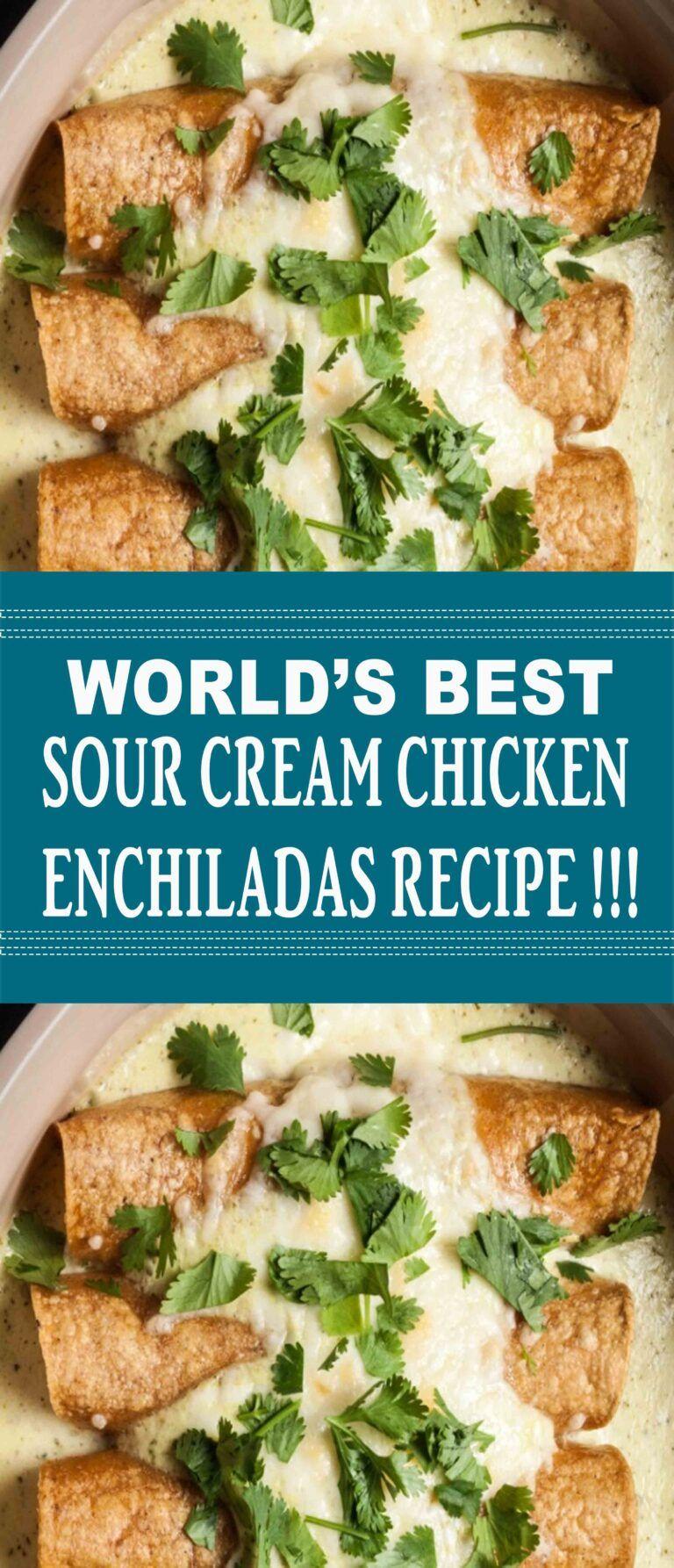Sour Cream Chicken Enchiladas Recipe In 2020 Sour Cream Chicken Enchilada Recipe Sour Cream Chicken Enchilada Recipes