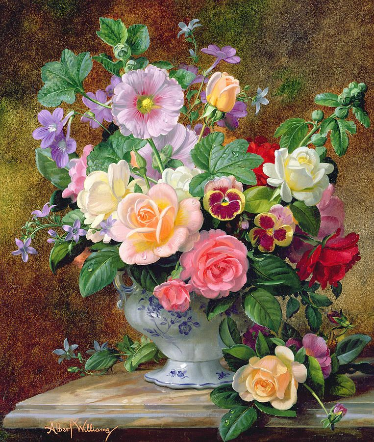 Roses Pansies And Other Flowers In A Vase By Albert Williams Flower Painting Flower Vases Floral Painting