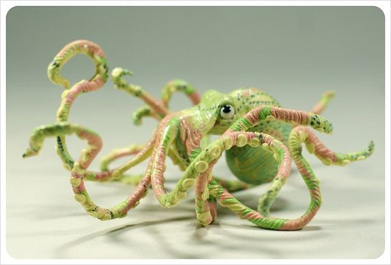 Stunning octopus, polymer clay and silk $65