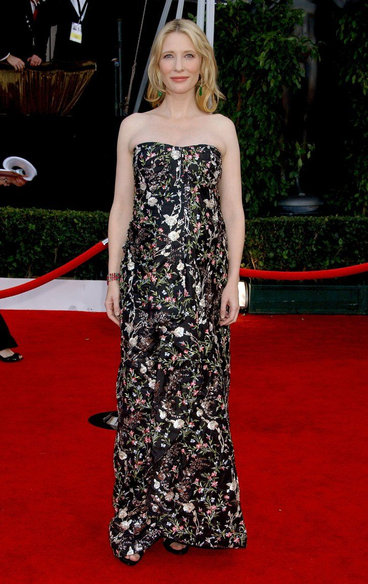 Pin for Later: Cate Blanchett Has the Most Impressive Red Carpet Résumé in Hollywood Cate Blanchett in Floral Balenciaga at the 2008 SAG Awards Blanchett hit the Screen Actors Guild Awards red carpet in a blossoming Balenciaga.