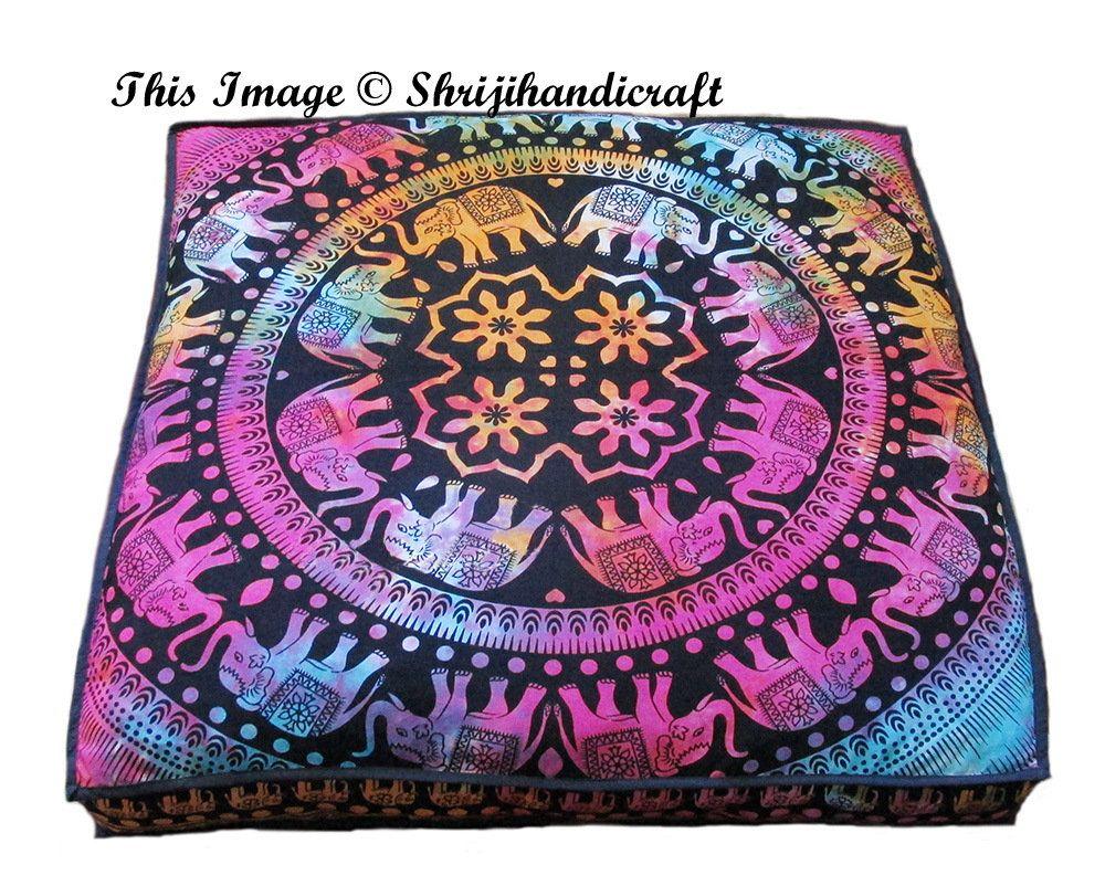"35X35"" Large Indian Elephant Tie Dye Multicolor Square dog"