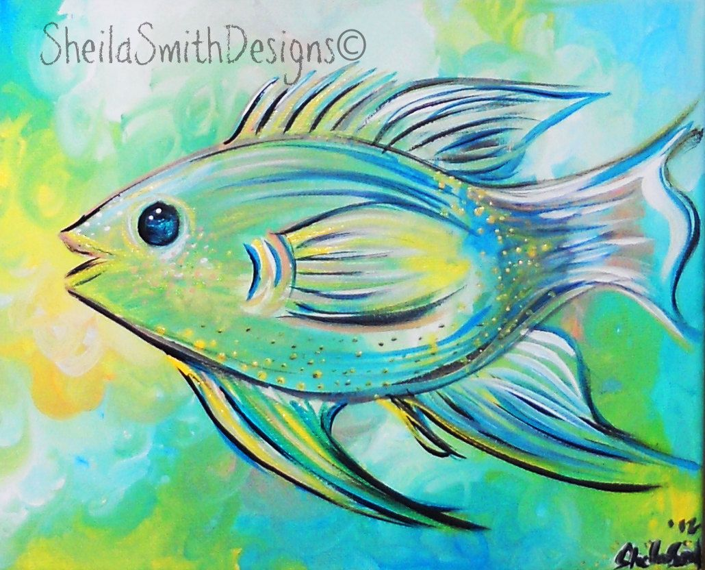 Cute fish art tropical fish simple fish decor bright for Tropical fish painting