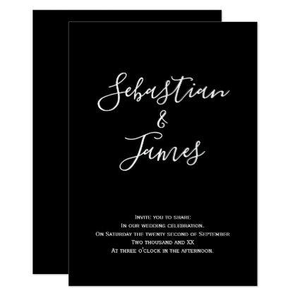 Bold Black and White Handwritten Wedding Card - wedding invitations - fresh wedding invitation card on whatsapp