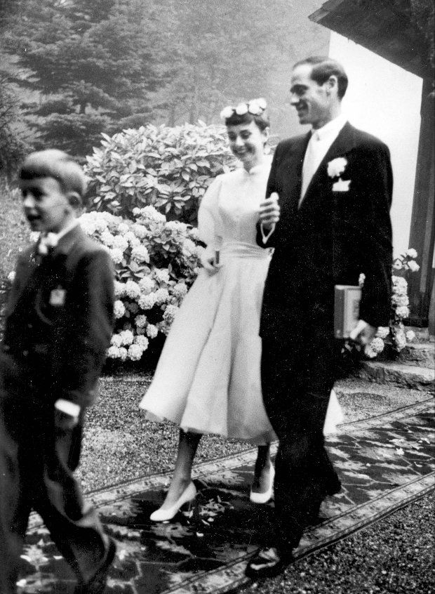Actress Audrey Hepburn married actor, director and producer Mel Ferrer in a Swiss wedding in 1954. Description from today.com. I searched for this on bing.com/images