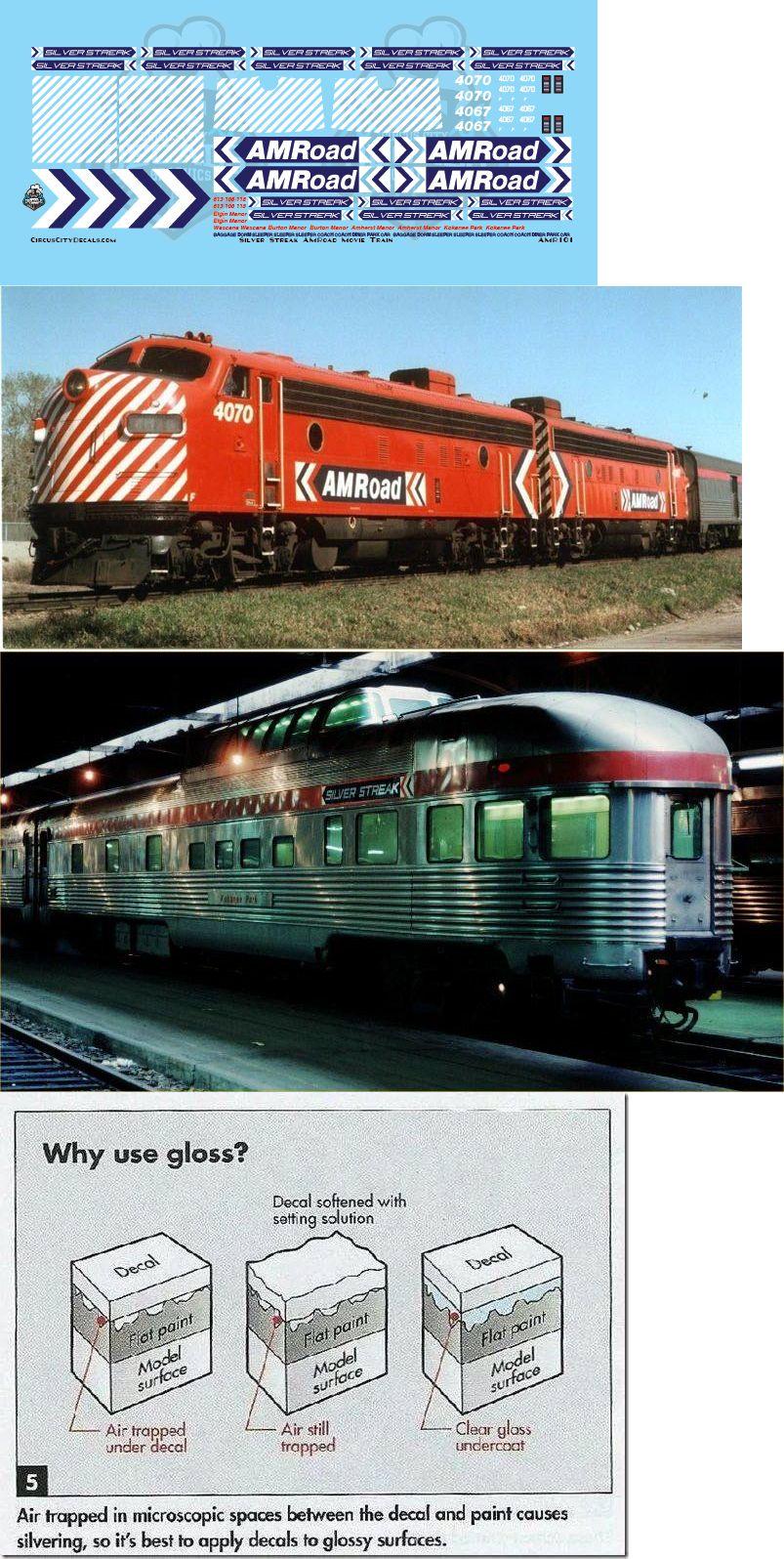 Decals 165978: Amroad Silver Streak Movie Train Decals Navy