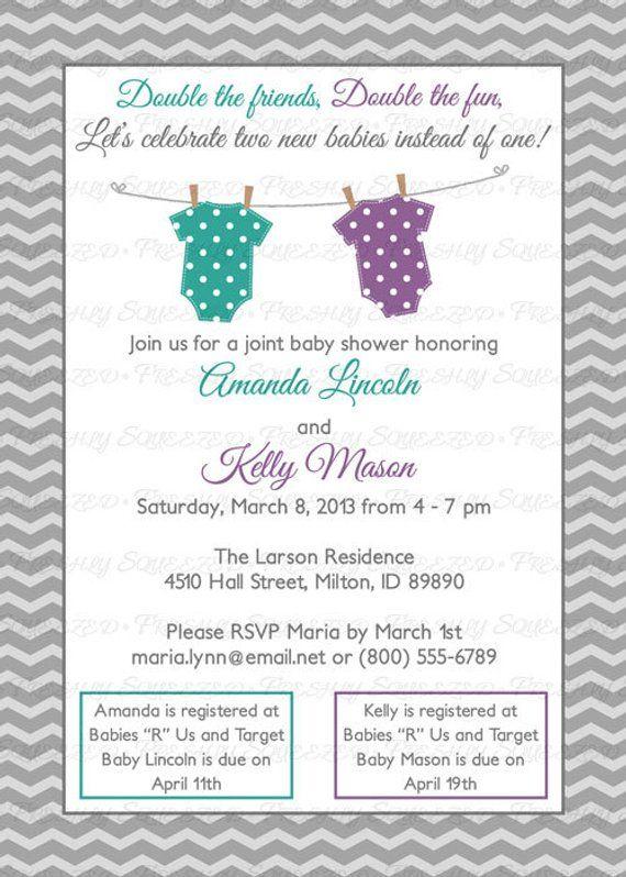 Joint Baby Shower Invitation Polka Dot Onesies Purple And Teal Green Digital Printable File