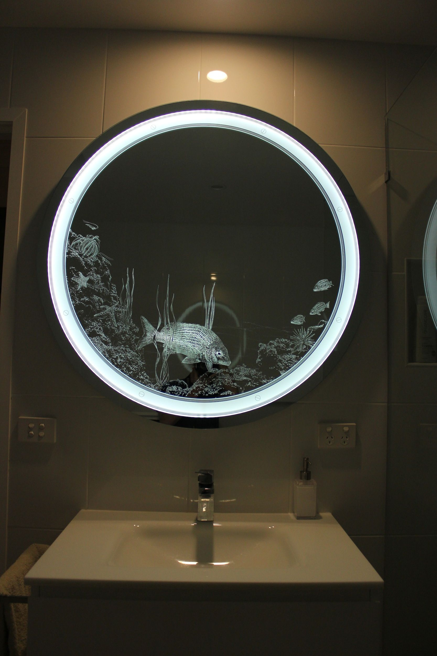 Bathroom light mirror custom designed and made in for Custom made mirrors for bathrooms