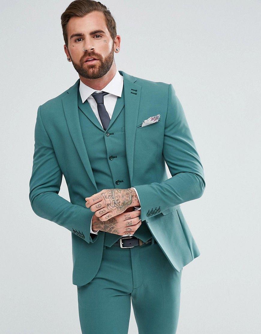 f52c50f8b98 ASOS Super Skinny Fit Suit Jacket In Peacock Green - Green