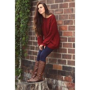 Cute fall outfits with burgundy sweater fashion | ╬Street Fa ...