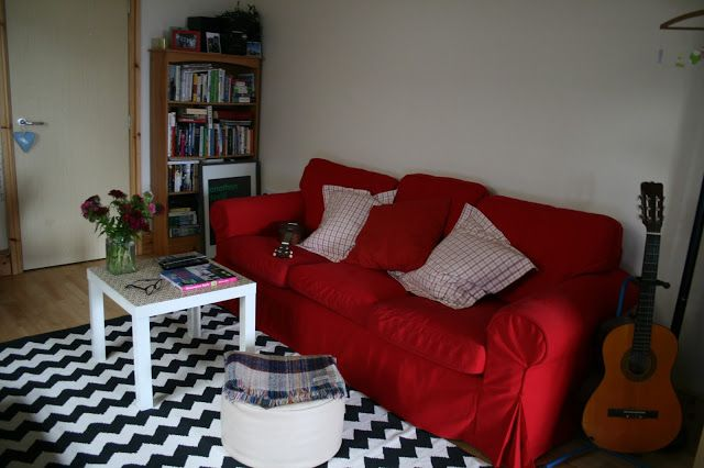 My home is featured in Ikea's online magazine, Live, this month, take a peek! {forty percent fringe : sixty percent face: in the press} black white chevron rug, red sofa, diy orla kiely coffee table