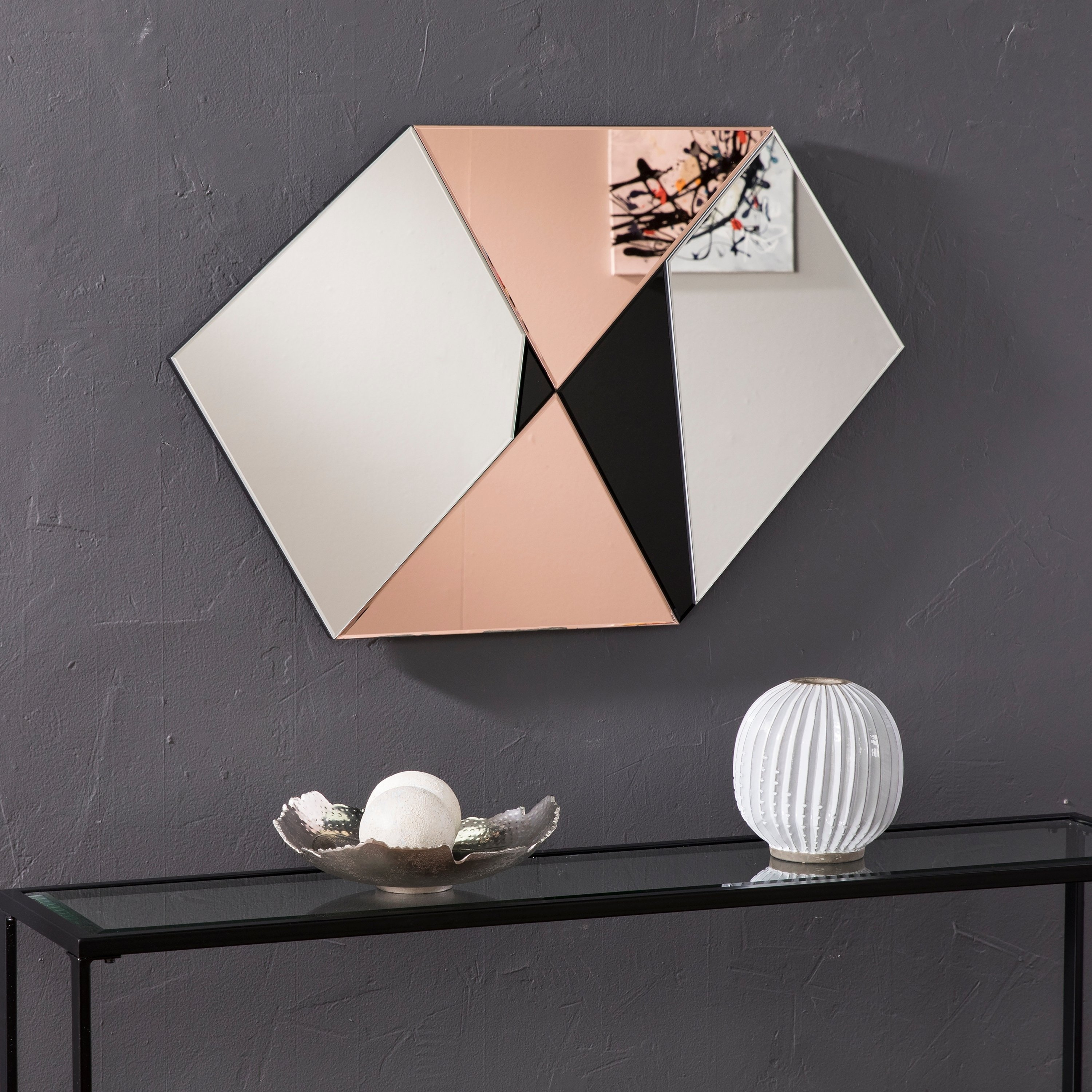 Silver Orchid Rosing Black Rose Gold Decorative Wall Mirror Black Rose Gold Black Mirror Traditional Mirrors How To Clean Mirrors