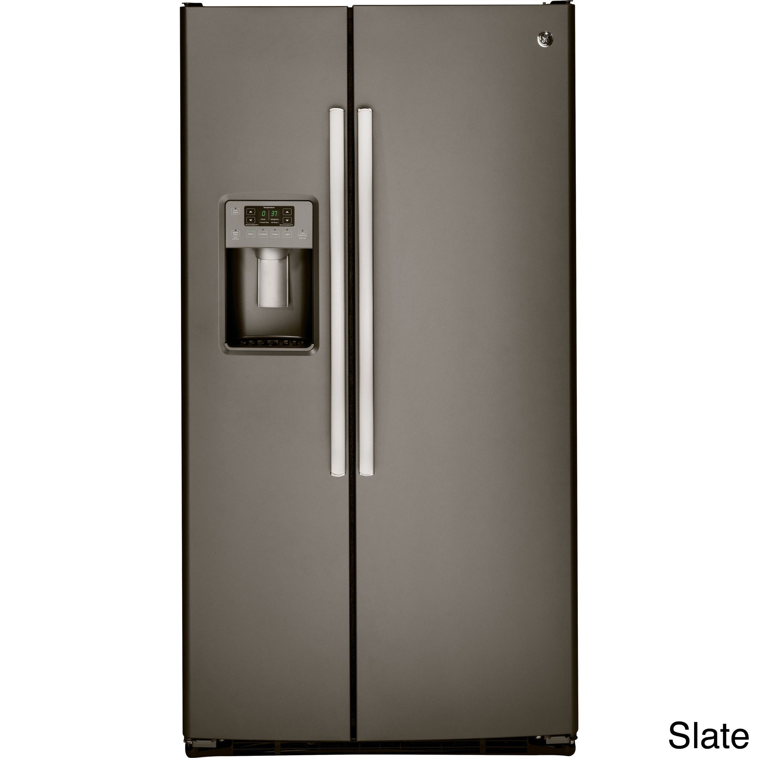 GE 25 4 Cubic Feet Side by side Refrigerator Black Plastic