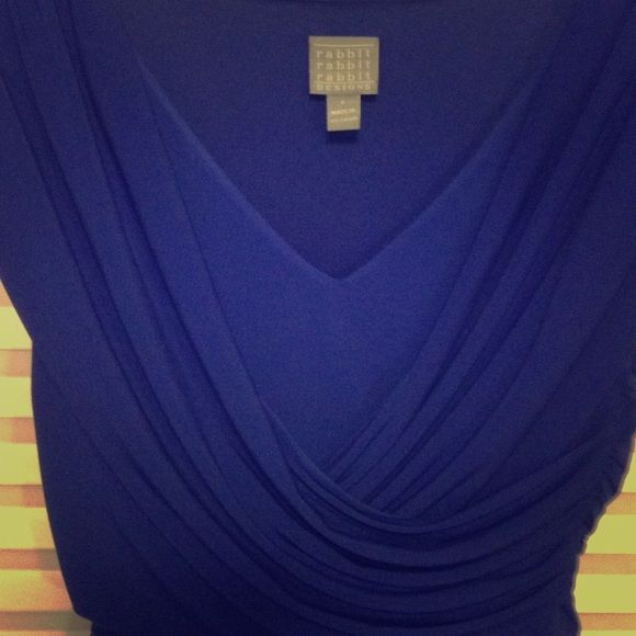 Flowing, flattering royal blue dress Gorgeous deep royal blue lined and layered wrap bodice with side ruching above a dropped and gathered waist.  Poly-spandex blend for figure-flattering fit and flowing, feminine movement.  Worn once, like new.       **scarf and matching size 6 shoes also listed. rabbit rabbit rabbit designs Dresses Midi