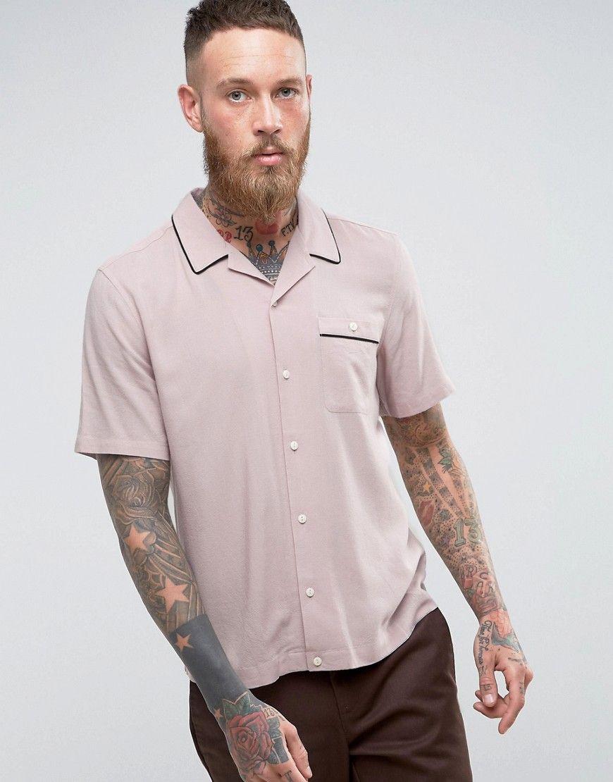 ASOS Regular Fit Linen Viscose Shirt With Revere Collar In Pink - Pink