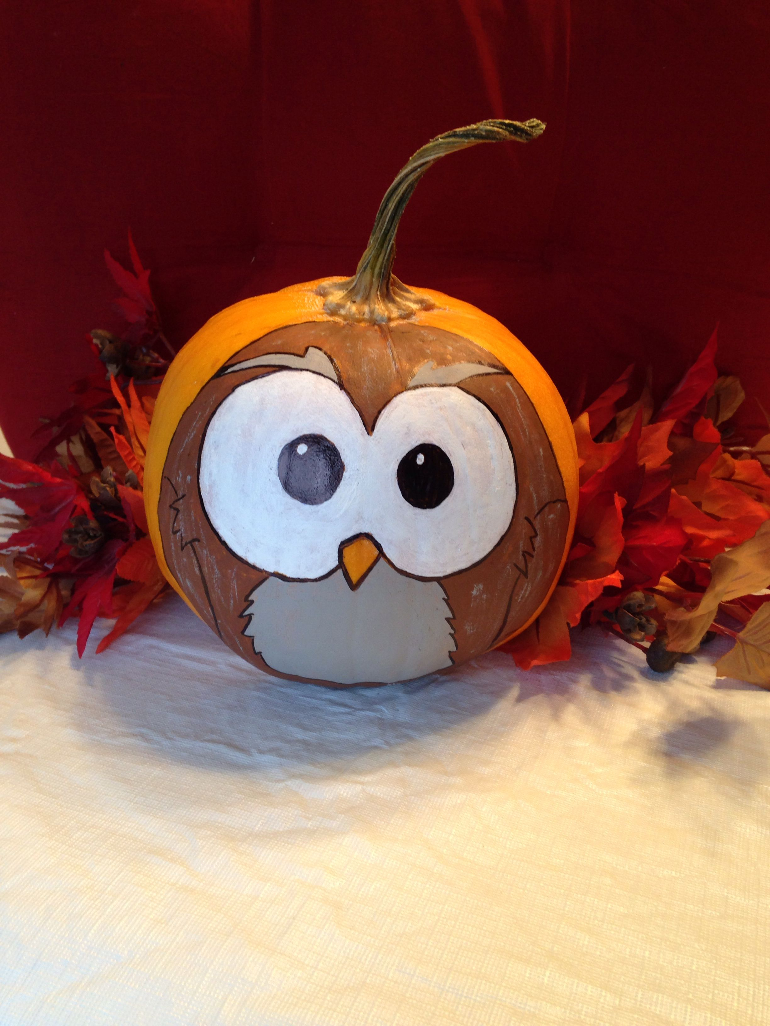 Motif Citrouille Halloween My Painted Owl Pumpkin Crafts Pinterest Bricolages