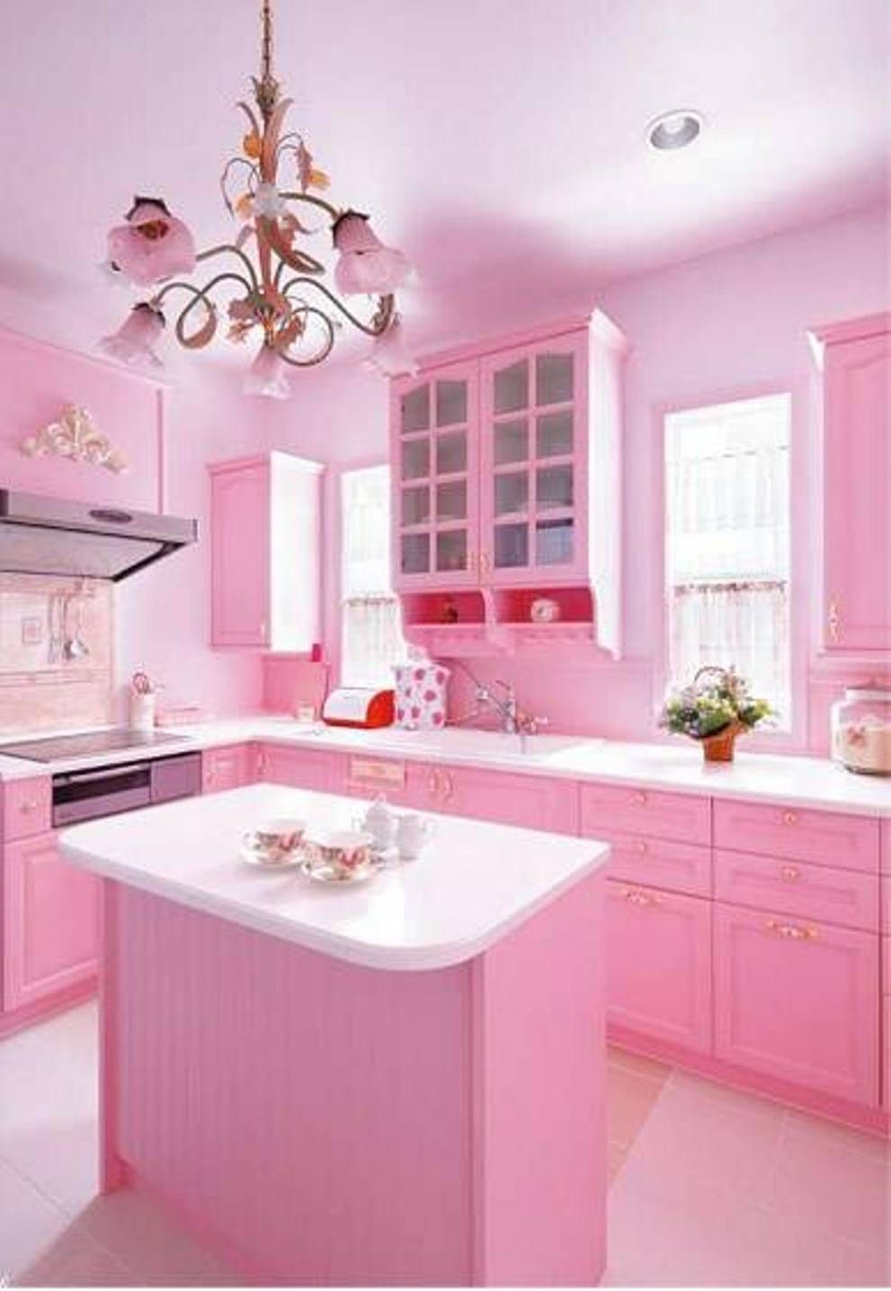 Pink Kitchen Cabinets home design and decor , adorable pink room design in the house
