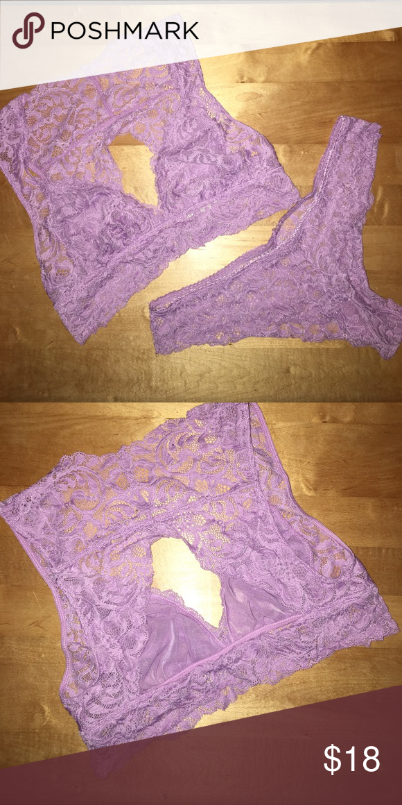 Purple vs bra and panty set Never worn. Peephole back of the bralette. There is no tag but it's a size small/medium Intimates & Sleepwear Bras