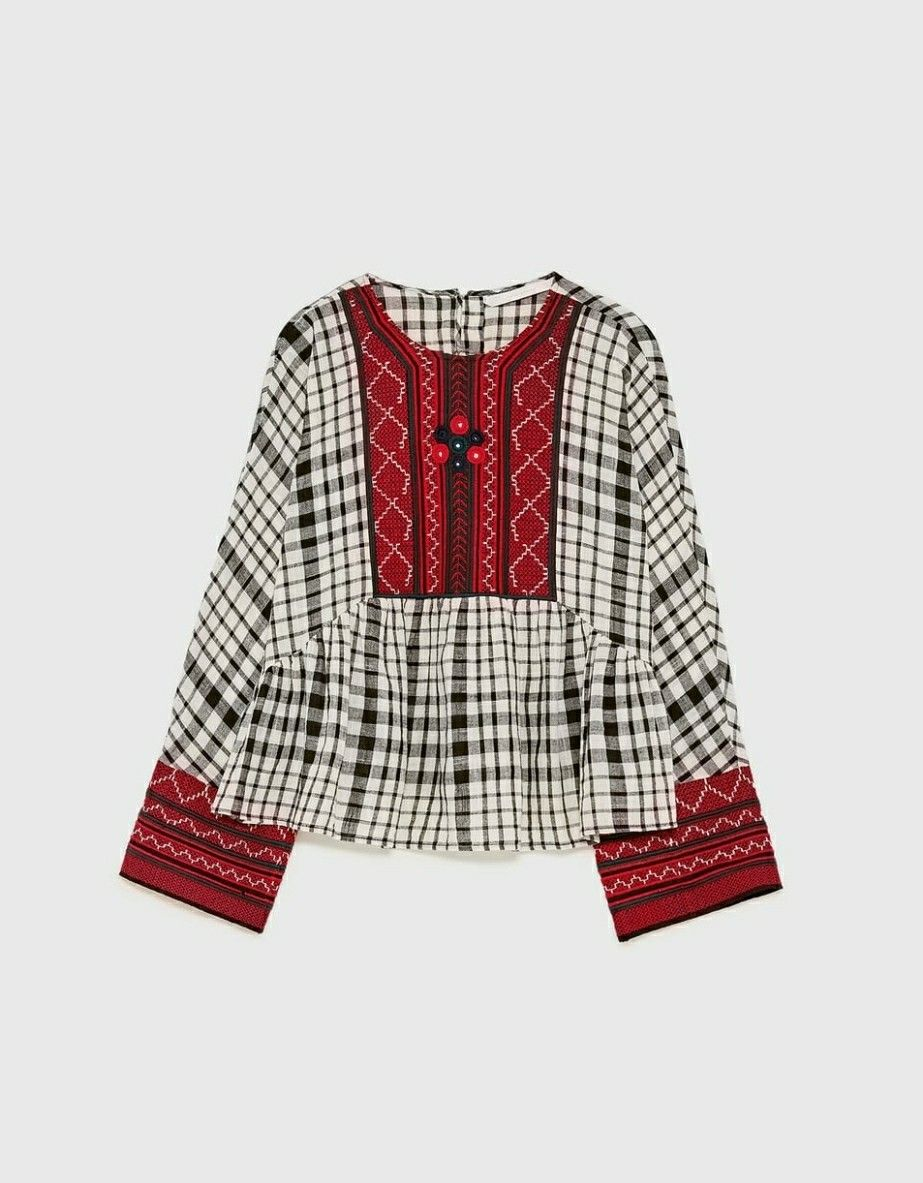 Zara flannel shirt mens  Zara Embroidered Blouse with Red Details  Pieces of clothing I own