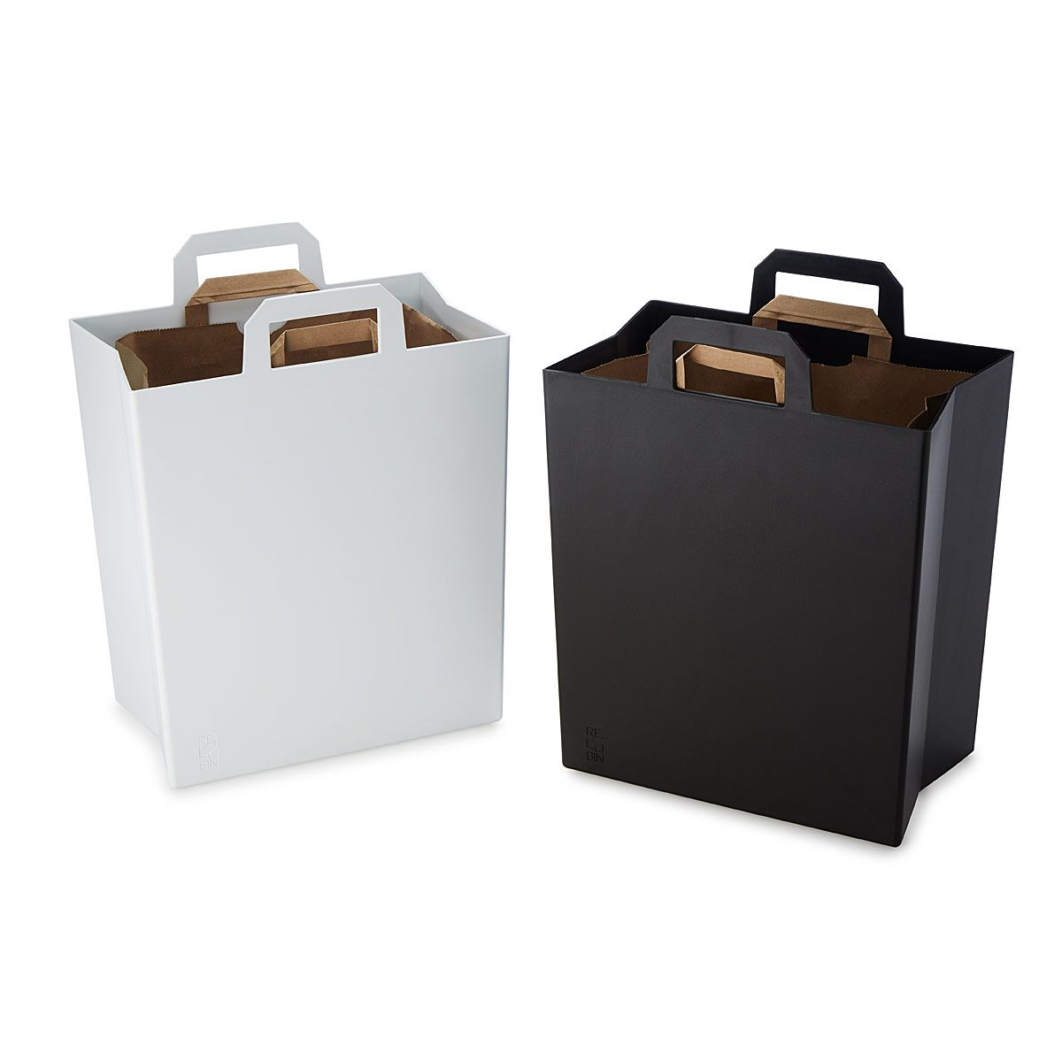 This Clever Recycling Bin Is Designed To Fit Paper Grocery Sacks Recycling Bins Kitchen Recycling Bins Recycling