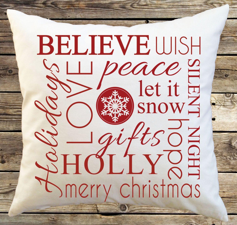 Etsy Throw Pillows Christmas Decorative Throw Pillow Cover Subway Art Typography