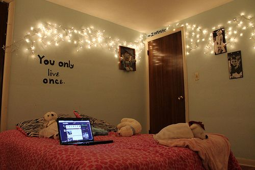 Tumblr Rooms With Lights Bed Bedroom Life Lights Image 497621