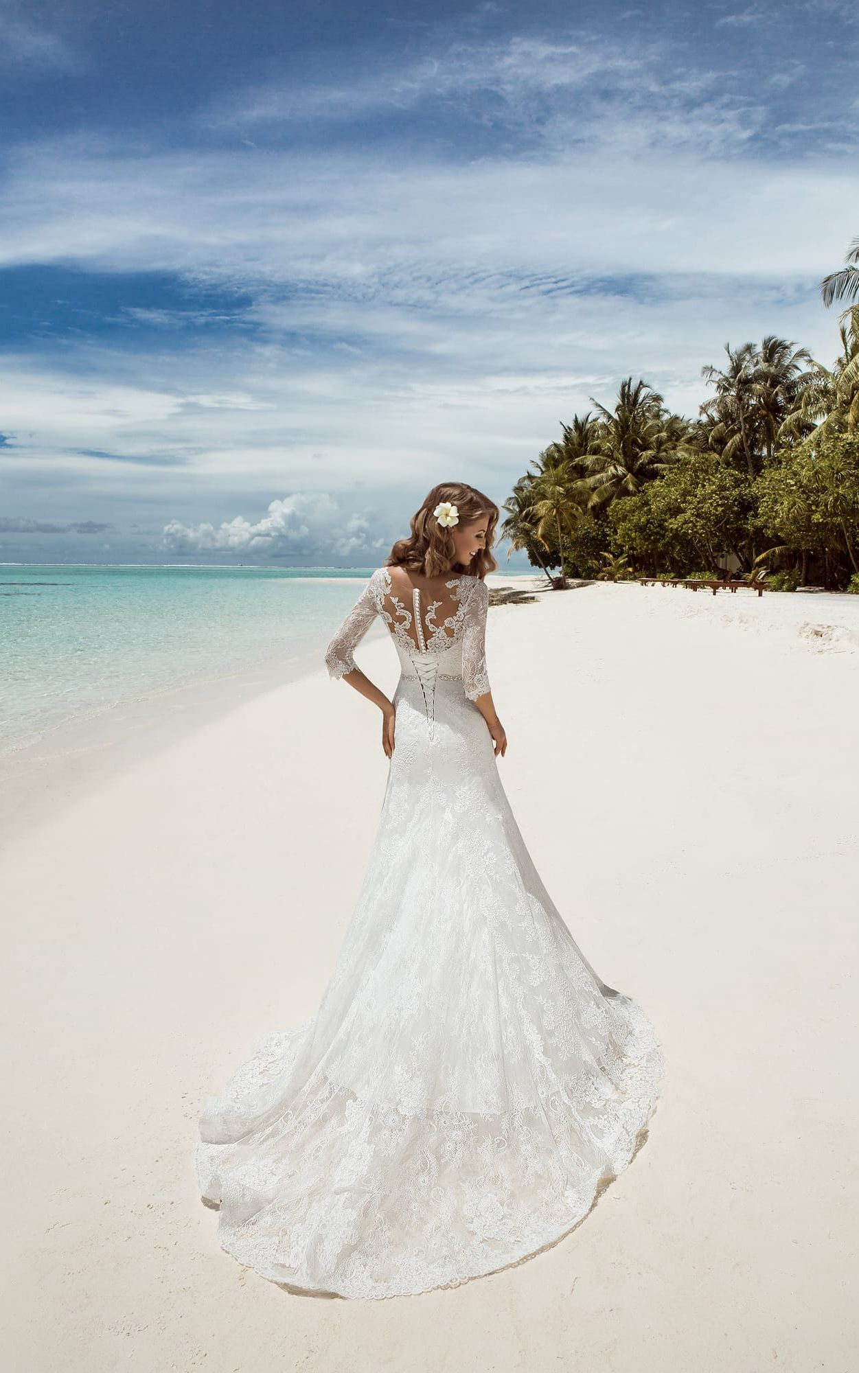 Mermaid Long V-Neck T-Shirt-Sleeve Lace-Up Lace Dress With Beading ...