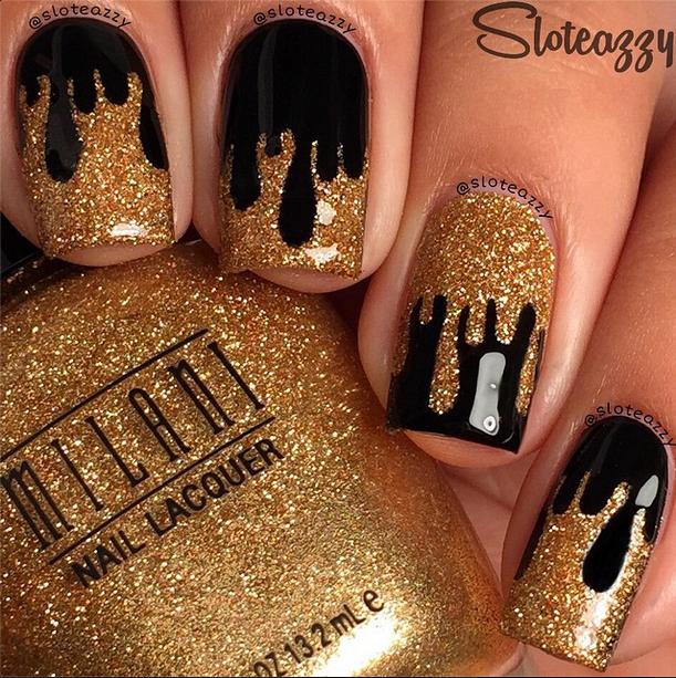 Pin By Yelissa Rosario On Nail Art Black Gold Nails Gold Nails Drip Nails