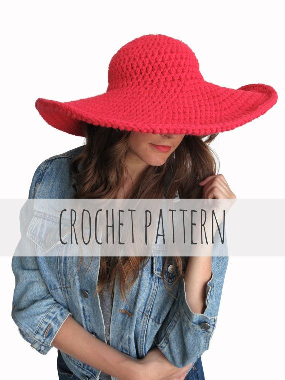 PATTERN for Crochet Floppy Hat Sun Wide Brim Derby Summer Beach Hat ... fd41087dd63