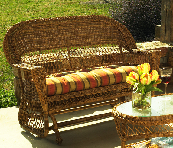Outdoor Wicker Glider Sofa: Outdoor Wicker Glider Loveseat: Cape Cod