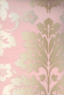 Wallpaper damasks scrolls pink peach orange camila for Pink wallpaper for walls