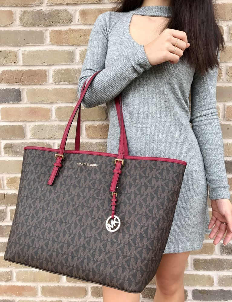 f377f6d347eb NWT Michael Kors Jet Set Travel Carryall Large Tote Brown MK Signature Red  Bag #MichaelKors #Tote