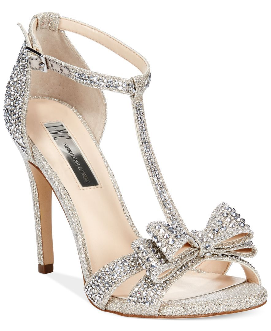 Sandals honeymoon shoes with rhinestone - Inc International Concepts Women S Reesie Rhinestone Bow Evening Sandals Only At Macy S Rhinestone Heelssilver Heelssilver Wedding