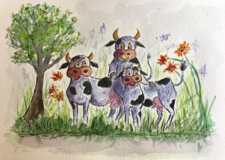 Buy Two purple cows and a bull., Watercolor by Katarzyna Goleniowska on Artfinder. Discover thousands of other original paintings, prints, sculptures and photography from independent artists.