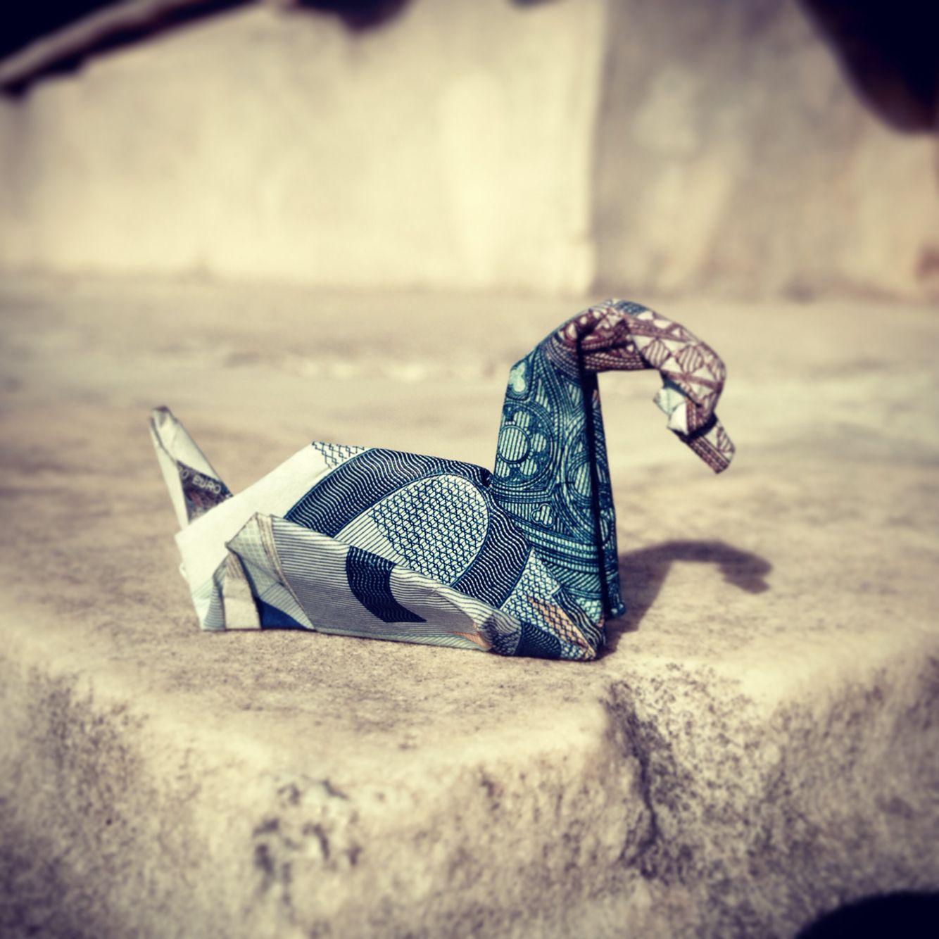 20 euros bill origami swan | crea met geld | Pinterest ... - photo#33