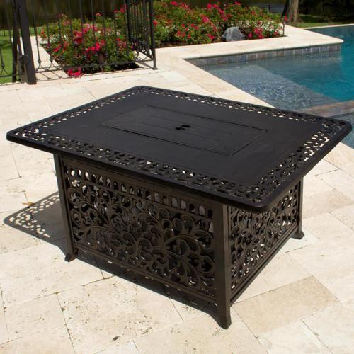 48-Inch Rectangular Cast Aluminum Propane Fire Pit Coffee Table - Antique  Bronze - 48-Inch Rectangular Cast Aluminum Propane Fire Pit Coffee Table