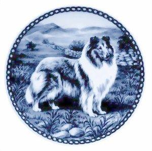Collie Sable White Danish Blue Porcelain Plate 7172 Dog