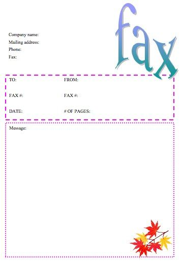 this printable fax cover sheet is accented with orange and yellow autumn leaves and is great for