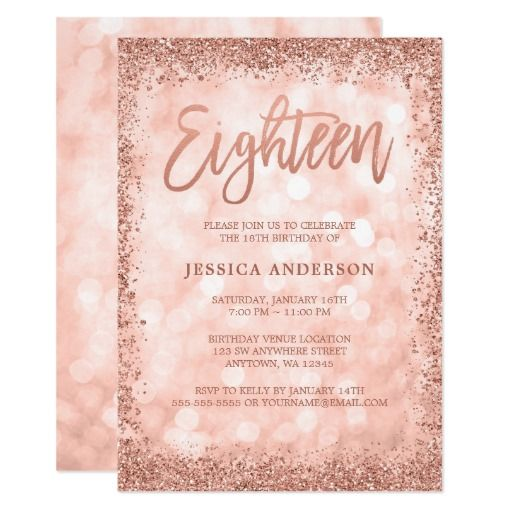 Rose Gold Faux Glitter Lights 18th Birthday Invitation Zazzle