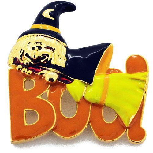 Enamel Halloween Boo Witch Pin Brooch