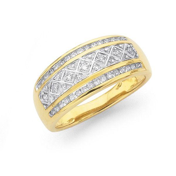 9ct Gold Diamond Wide Ring