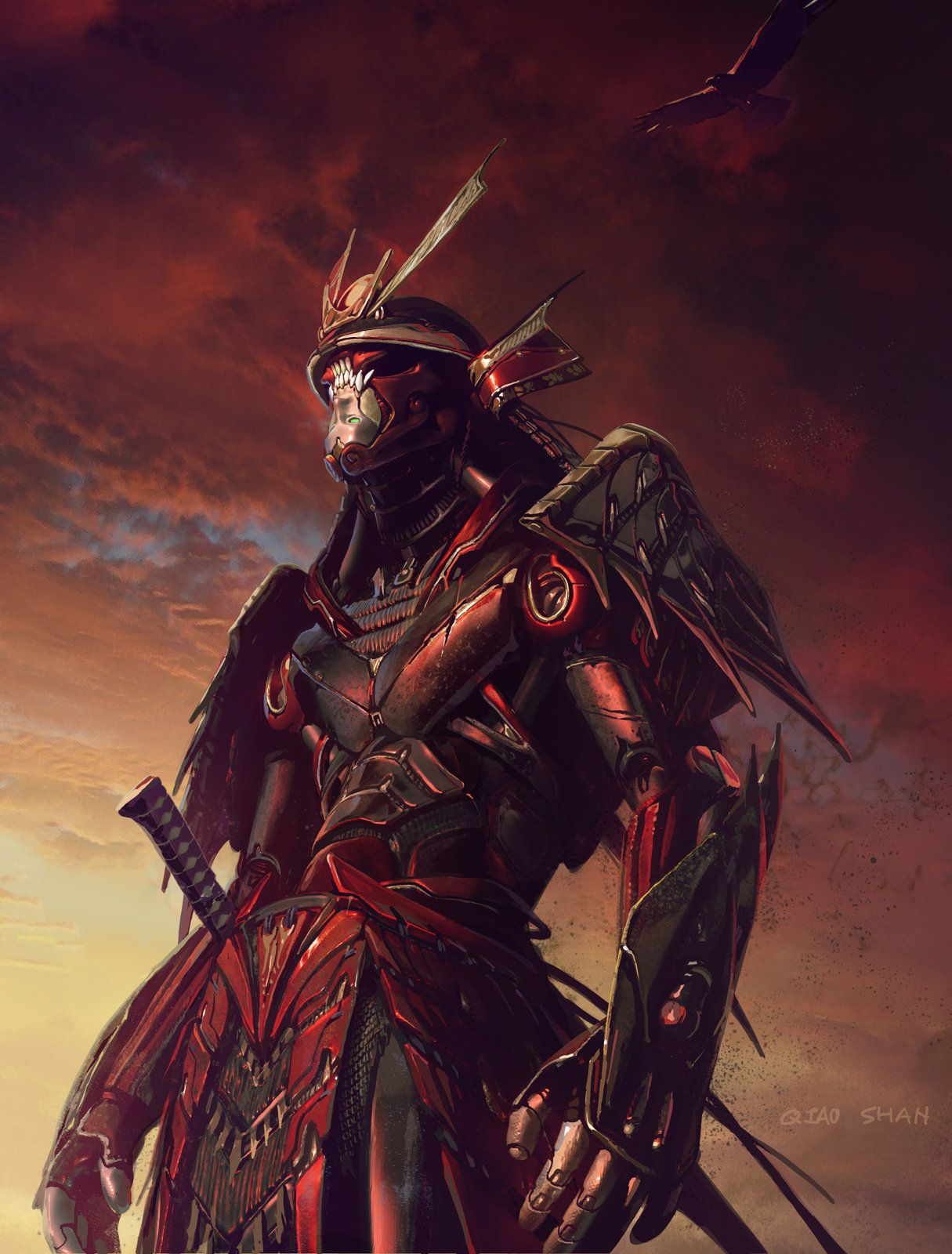 samurai rendering 2, Shan Qiao on ArtStation at https