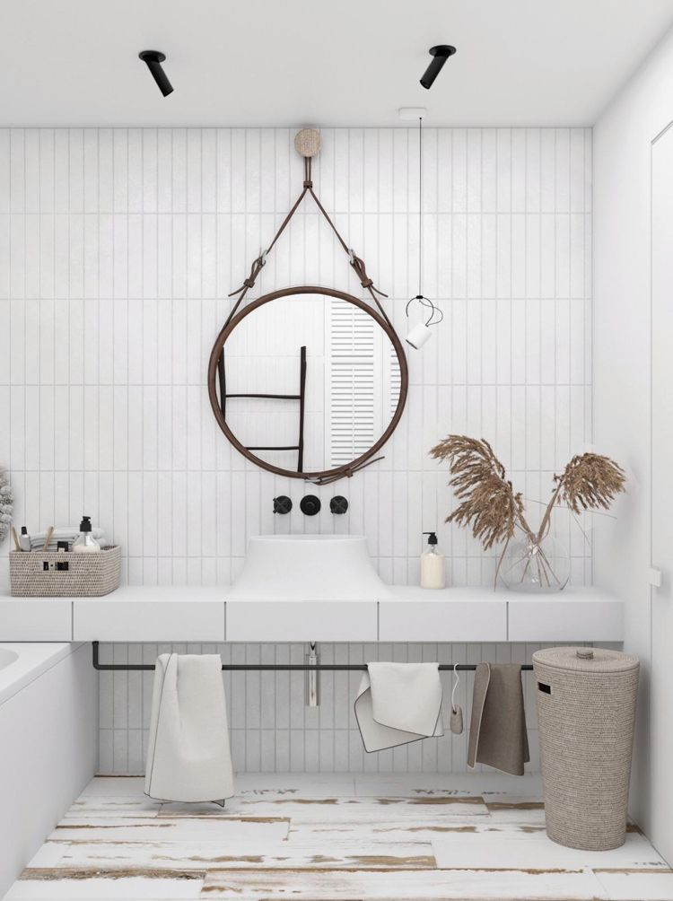 Badezimmer Modern Mit Ethno Flair Deko Korb Leder Bathrooms In
