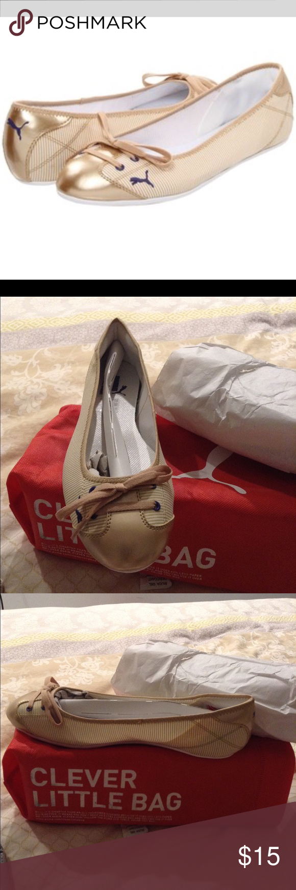Puma ballet flats size 7.5. Never worn Never worn. Puma ballet flats. Still in bag. Size 7.5. Gold and white color. Fits true to size Puma Shoes Flats & Loafers
