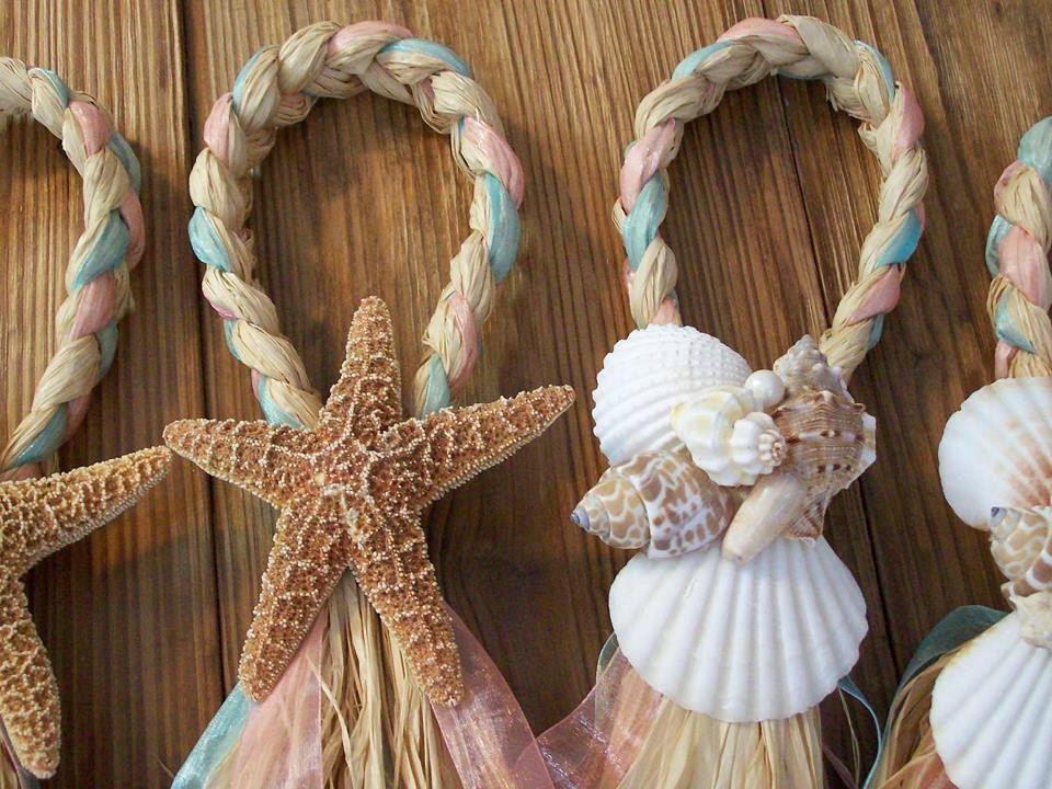 Beach Aisle Decorations Beach Pew Bows Starfish And Raffia Chair